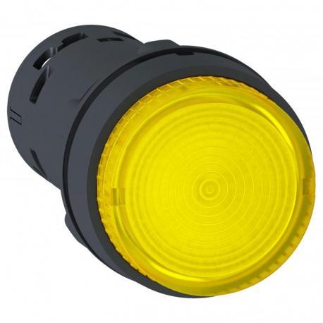 Przycisk wystający żółty push-push bez oznaczenia żarówka BA 9s 250V