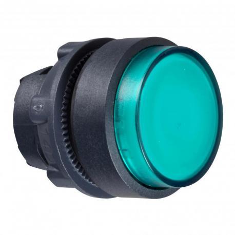 Przycisk wystający zielony samopowrotny żarówka BA 9s plastikowy karbowana