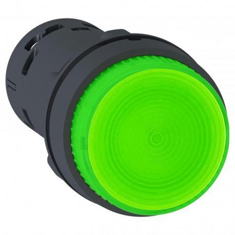 Przycisk wystający zielony push-push bez oznaczenia żarówka BA 9s 250V