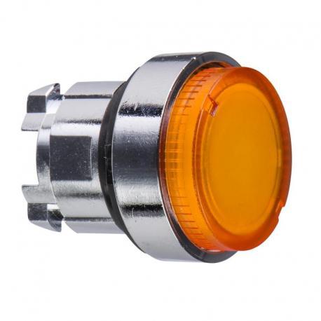 Przycisk wystający pomarańczowy samopowrotny żarówka BA 9s metalowy typowa