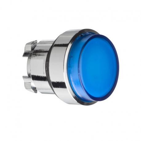Przycisk wystający niebieski samopowrotny żarówka BA 9s metalowy typowa