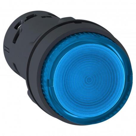 Przycisk wystający niebieski push-push bez oznaczenia żarówka BA 9s 250V