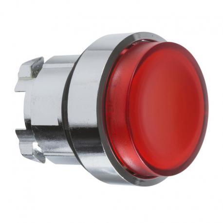 Przycisk wystający czerwony samopowrotny żarówka BA 9s metalowy typowa