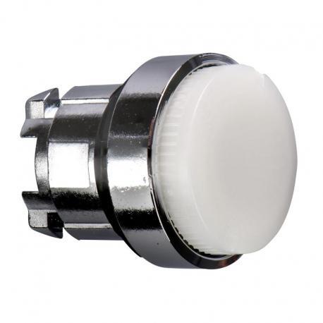 Przycisk wystający biały samopowrotny żarówka BA 9s metalowy bez oznaczenia