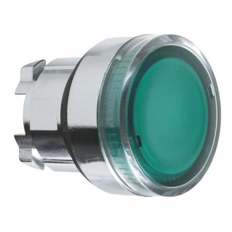 Przycisk płaski zielony żarówka BA 9s metalowy typowy bez oznaczenia