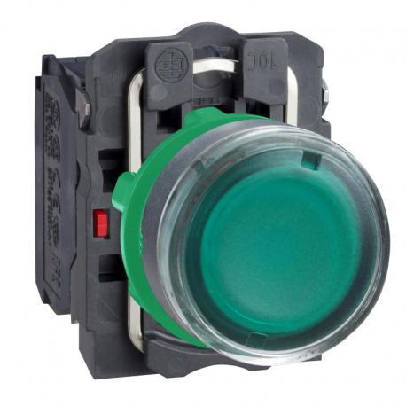 Przycisk płaski zielony żarówka 250V bezpośrednie plastikowy