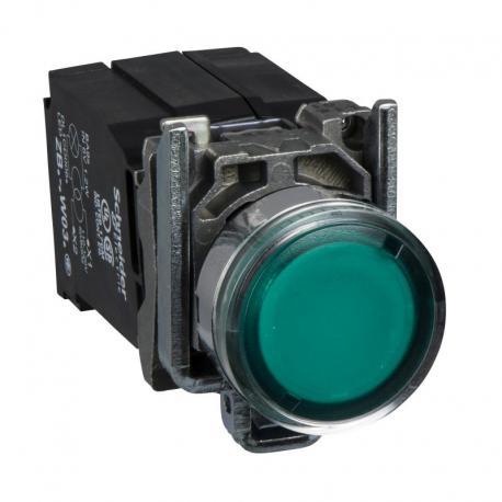 Przycisk płaski zielony żarówka 220-240V transformator metalowy