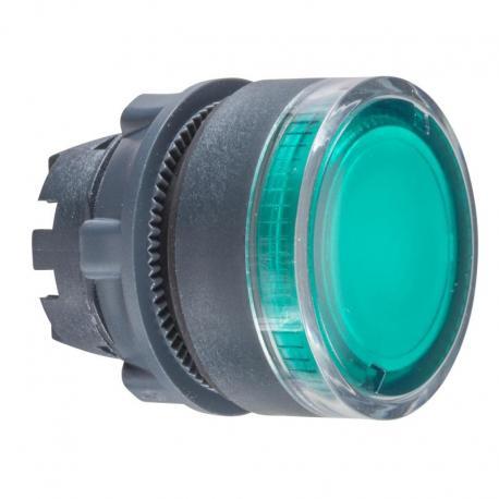 Przycisk płaski zielony samopowrotny żarówka BA 9s plastikowy karbowana