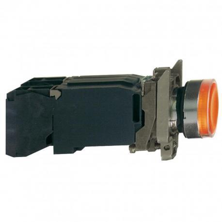 Przycisk płaski pomarańczowy żarówka 220-240V transformator metalowy