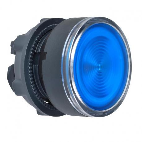 Przycisk płaski niebieski samopowrotny żarówka BA 9s plastikowy karbowana