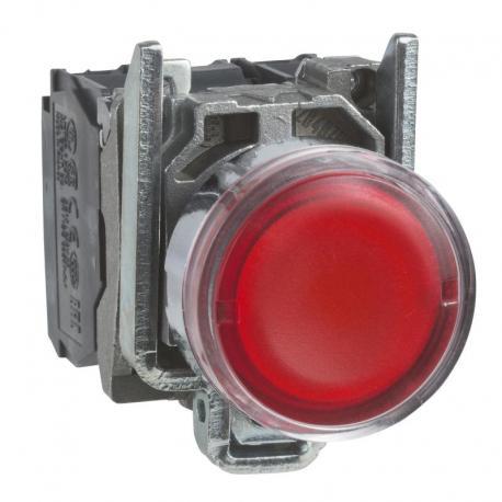 Przycisk płaski czerwony żarówka 250V bezpośrednie metalowy
