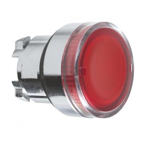 Przycisk płaski czerwony samopowrotny żarówka BA 9s metalowy bez oznaczenia