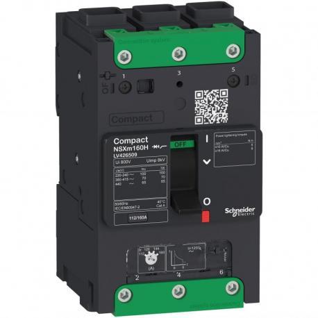 Wyłącznik Compact NSXm 160 3P 25kA przy 380/415V(IEC) końcówki. kabl. EverLink