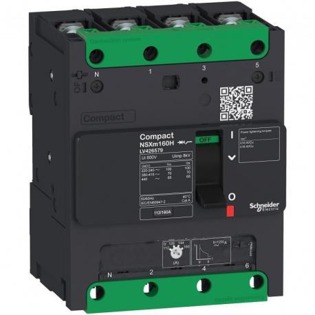 Wyłącznik Compact NSXm 125 4P 25kA przy 380/415V(IEC) zaciskane końcówki. kabl.