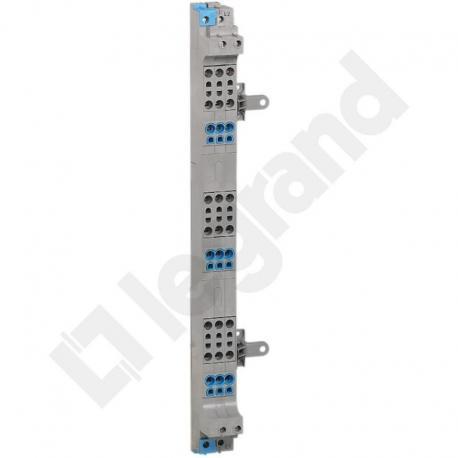 VX3 Blok rozdzielacza pionowego do rozdzielni 3 rzędowej 63 A, zaciski sprężynowe