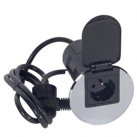 Przepust biurkowy 2P+Z ładowarka USB metaliczny