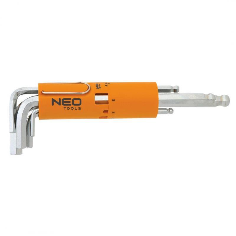 NEO Klucze sześciokątne, długie, kuliste 2.5-10 mm, zestaw 8 szt.