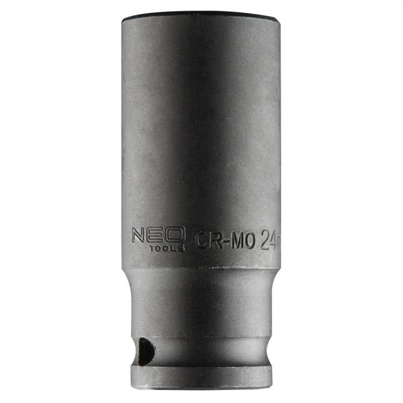 "NEO Nasadka udarowa 1/2"" długa, 24 x 78mm , Cr-Mo"