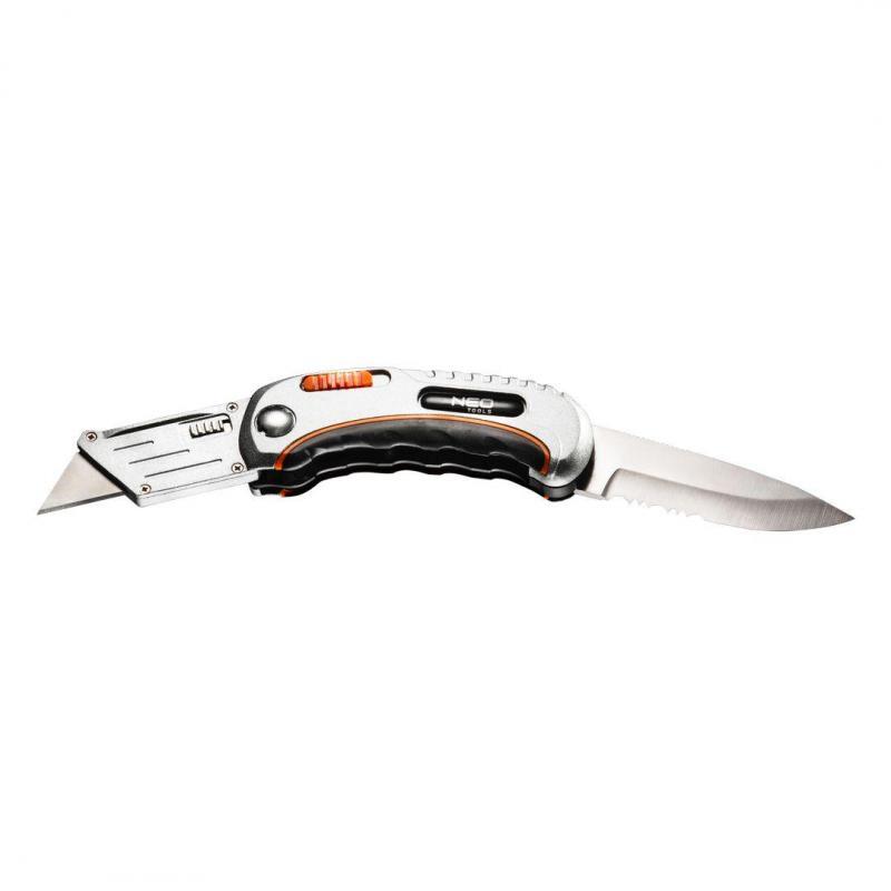 NEO Nóż uniwersalny składany, ostrze trapezowe + nóż, nylonowe etui + 5 ostrzy Neo