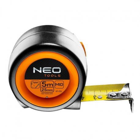 NEO Miara zwijana stalowa kompaktowa 5 m x 25 mm, auto-stop, magnes