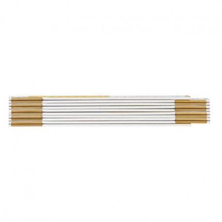 NEO Miara składana drewniana 2 m, biało-żółta