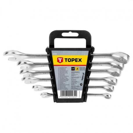 TOPEX Klucze płasko-oczkowe 8-17 mm, zestaw 6 szt.