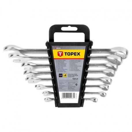 TOPEX Klucze płasko-oczkowe 6-19 mm, zestaw 8 szt.