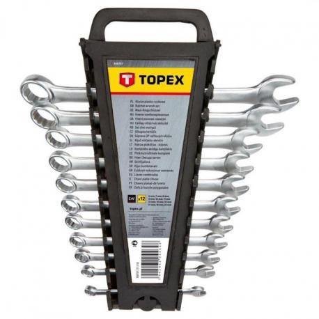 TOPEX Klucze płasko-oczkowe 6-22 mm, zestaw 12 szt.