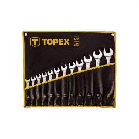 TOPEX Klucze płasko-oczkowe 13-32 mm, zestaw 12 szt.