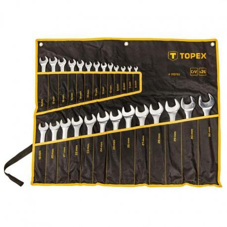 TOPEX Klucze płasko-oczkowe 6-32 mm, zestaw 26 szt., w płachcie