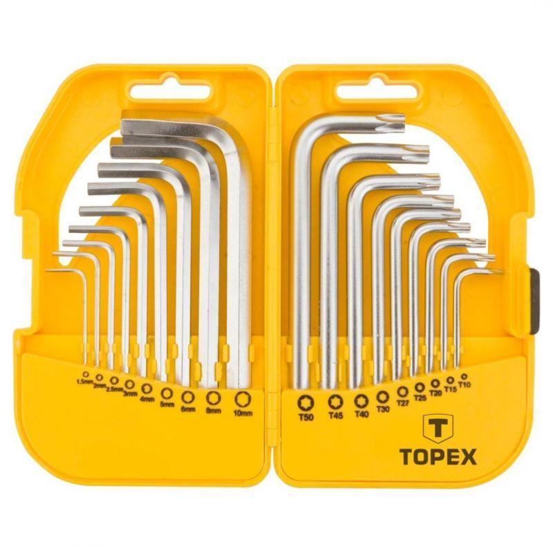 TOPEX Klucze sześciokątne i Torx, zestaw 18 szt.