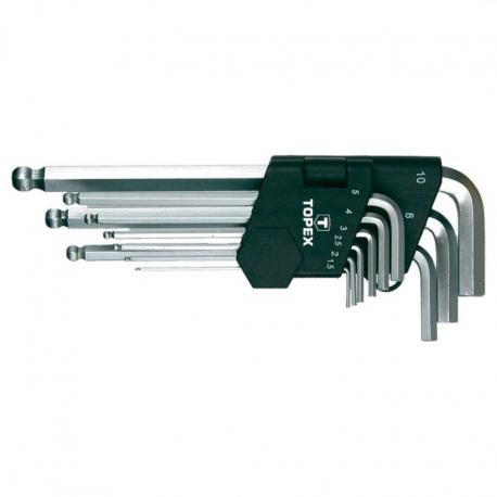TOPEX Klucze sześciokątne 1.5-10 mm, zestaw 9 szt.