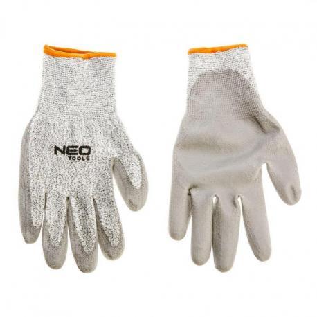 """NEO Rękawice antyprzecięciowe, pokryte PU, poziom ochrony przed przecięciem 5 (najwyższy), 10"""", CE"""