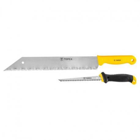 TOPEX Piła do płyt gipsowo-kartonowych i nóż do wełny mineralnej, zestaw 2 szt.