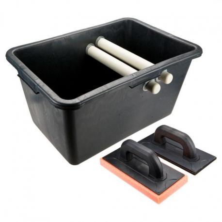 TOPEX Zestaw glazurniczy, pojemnik 40l, paca z gumą, paca z gąbką miękką