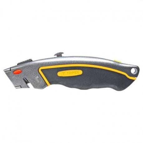 TOPEX Nóż z ostrzem trapezowym, 6 ostrzy, metalowy korpus