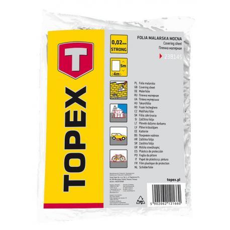 TOPEX Folia malarska LDPE, 0.02 mm, 4 x 5 m