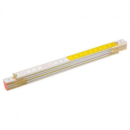 TOPEX Miara składana drewniana 2 m, biało-żółta