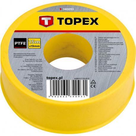 TOPEX Taśma uszczelniająca do rur 15 m x 19 mm x 0.2 mm