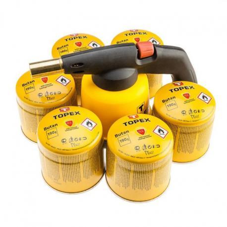 TOPEX Lampa lutownicza gazowa na naboje + 6 naboi gazowych z zaworkiem