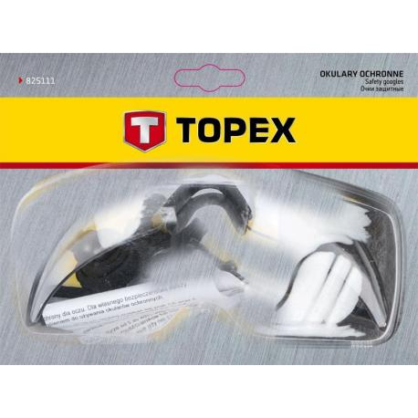TOPEX Okulary ochronne, białe, regulowane zauszniki