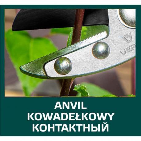 VERTO Sekator ogrodowy kowadełkowy 190 mm, średnica cięcia 10 mm