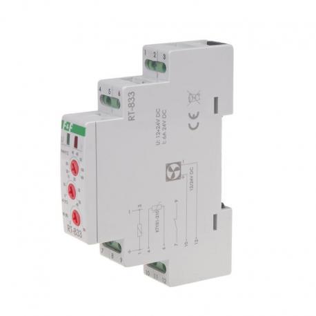 Regulator temperatury z regulacją prędkości obrotowej wentylatora montaż na szynie DIN styk: 1NO/NC 230V AC RT-833