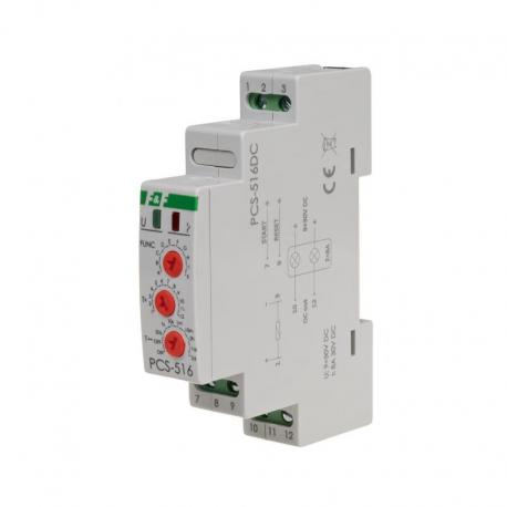 Przekaźnik czasowy 10-funkcyjny. Z wejściami START i RESET. PCS-516DC