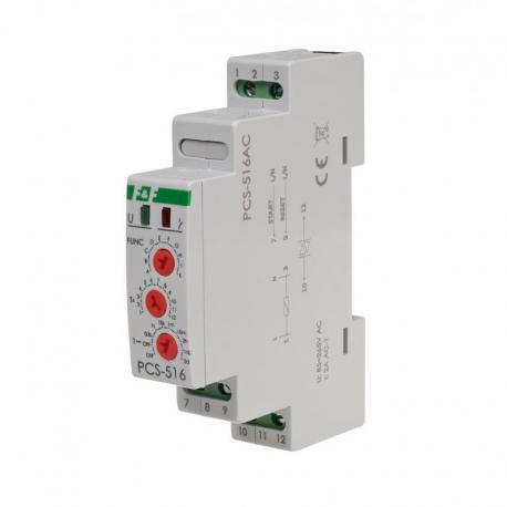 Przekaźnik czasowy 10-funkcyjny. Z wejściami START i RESET. PCS-516AC