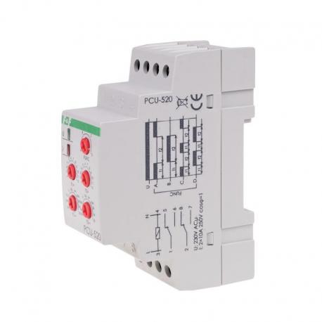 Przekaźnik czasowy 2-funkcyjny (nastawa 2 czasów T1 T2, styk: 2xNO/NC 230V PCU-520