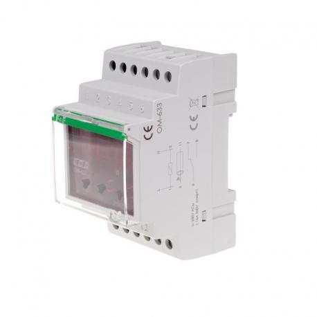 Ogranicznik z funkcją przekaźnika napięciowego, LCD, pomiar do 10kW, montaż na szynie DIN OM-633