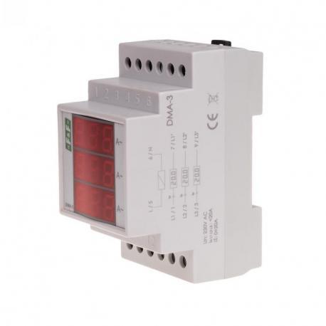 Cyfrowy wskaźnik wartości natężenia prądu, trójfazowy DMA-3, pomiar bezpośredni 20A DMA-3