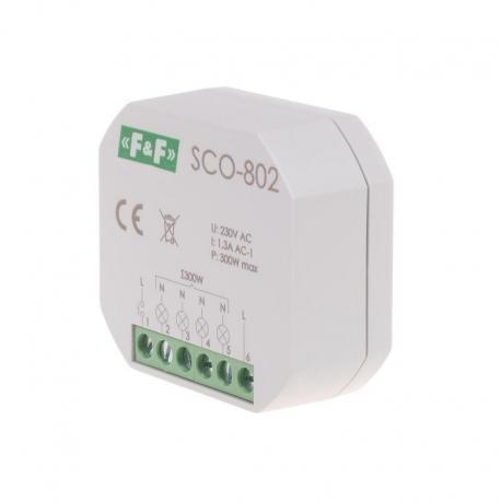 """Ściemniacz oświetlenia """"z pamięcią"""" montaż podtynkowy zasilanie 230V AC 300W SCO-802"""
