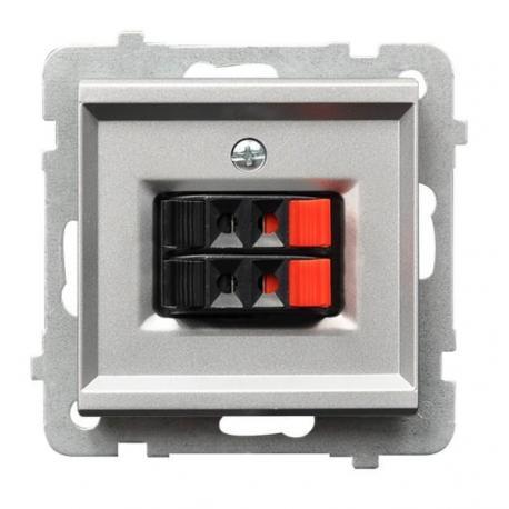 SONATA Gniazdo głośnikowe podwójne GG-2R/m/38 SREBRO MAT